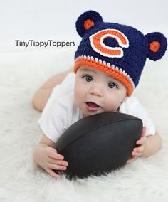 Crocheted Chicago Bears Hat Cap by TinyTippyToppers on Etsy, $26.00