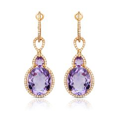 Rosendorff African Amethyst Collection Amethyst and Diamond Drop Earrings