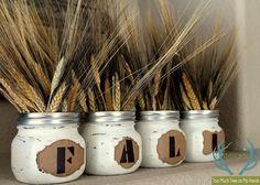 painted jar fall centerpiece, crafts, mason jars, painting, repurposing upcycling