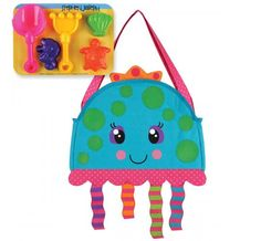 The Stephen Joseph Jellyfish Beach Tote with Sand Toys is a great way for you and your toddler to enjoy a fun day at the beach. This tote bag features a cute jellyfish design, and comes packed with five tools that are perfect for building sandcastles. Toddler Beach, Best Tote Bags, Sand Toys, Outdoor Toys, Unisex Baby Clothes, Jellyfish, Baby Shop, Baby Shower Gifts, Kids Toys