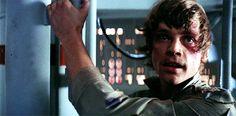 Luke lets go. Man, he is so brave! #lukeskywalker #GIF