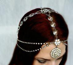 Bridal Wedding Headdress Art Deco Crystal by RoseoftheMire