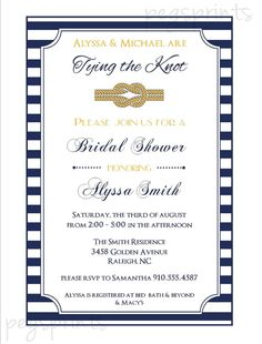 Nautical Bridal Shower Invite  Tying the Knot by pegsprints, $14.00
