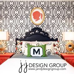 Big Girl Room your little one can grow into! #coral #navy #green #silhouette #wallpaper #jandjdesigngroup
