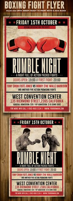 Fight Night V  Fight Night Flyer Template And Event Flyers