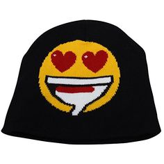 Unisex Emoji Beanie Hat – Emoticon Print Skull Cap Express your emotions with the emoji beanie hats. One size fits most from ages 8 all the way into most adults.  We have four different prints available, all made from very soft 100% acrylic fabric Simple to clean with cold machine washing....