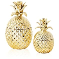 Two's Company Pineapple Jars (6,560 INR) ❤ liked on Polyvore featuring home, home decor, gold, pineapple home decor and two's company