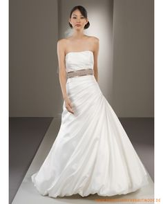 2013 Neue schulterfreie Brautmode aus Satin verzierter Gürtel und faltiger Rock