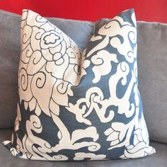 ON BOTH SIDES - Pillow Cover - Decorative Pillow Cover - Throw Pillow Cover - 15x15 inch - Denim Blue - Floral