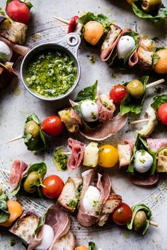 Antipasto Skewers with Kale Pesto | halfbakedharvest.com @hbharvest