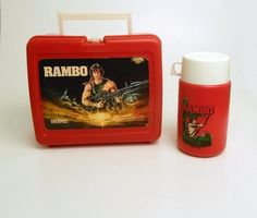 1985 Red Plastic Sylvester Stallone Rambo Movie Lunch Box & Thermos Made in USA