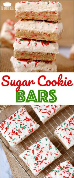 Holiday Sugar Cookie Bars with Frosting recipe from The Country Cook #desserts #holiday #Christmas #ideas #sprinkles #holiday
