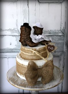 cowboy bootscowgirl bootswedding cake by MorganTheCreator on Etsy, $42.00. WITHOUT THE HATS!
