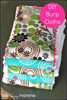 Cute DIY Burp Cloths!  I love these and they make a great first sewing project...and a cheap one that is VERY useful!
