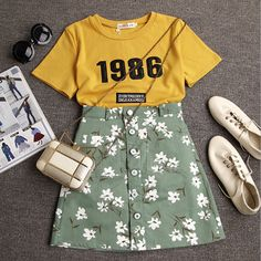 "Item Type:Two-Piece Material:Cotton Sleeve Length:Short Sleeve Collar:Round Neck Pattern:Print Style:Fashion Color:Photo Color Size: XS (US size) Bust: 31-33"", Waist: 23-25"", Hips: 33-35"" S (US size)"