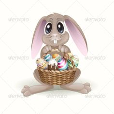 The Easter Bunny With A Basket  ...  animal, background, basket, bunny, cartoon, celebration, character, chocolate, clip, colorful, cute, design, easter, egg, funny, greeting card, happy, hare, holiday, illustration, isolated, painted, rabbit, season, spring, vector, white