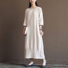 Nude linen spring dress 2016 new linen maxi dresses plus Size L inen clothingThis dress is made of cotton linen fabric, soft and breathy, suitable for summer, so loose dresses to make you comfortable all the time.Measurement: Size M length 118cm / 46.02