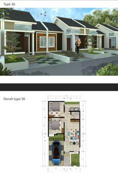 perumahan padasuka teraace bandung Modern House Floor Plans, Modern Exterior House Designs, Modern House Design, Minimalist House Design, Small House Design, Home Design Plans, Plan Design, Small Bungalow, Beautiful House Plans