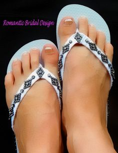 Flip Flops Sandals Black and White Great For Any Occasion, Beach Wedding, Honeymoon, Or A Cruise! by RomanticBridalDesign on Etsy #womens #shoes #barefoot#flip flops#Wedge #Sandals#Bead #Anklet #Brides #Maid#Wedding #Accessories#foot #jewelry #Bridal #Beach #Thongs #Cruise #Honeymoon #Reception