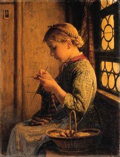 Strickendes Mdchen, 1878, Albert Anker. Swiss (1831 - 1910)