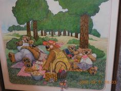 BEARS Merry Ann McGlinn artist FAMILY PICNIC VINTAGE 1980 SIGNED LARGE DRAWING