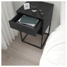 IKEA - VIKHAMMER, Bedside table, black, The drawers close silently and softly, thanks to the integrated soft-closing function. Bedroom Decor On A Budget, Room Decor Bedroom, Home Bedroom, Bedroom Sets, High Beds, Painted Drawers, New Room, Room Inspiration, Home Furniture