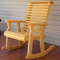 33 Gorgeous Wood Chair Design Ideas For Best Furniture - Chairs should be made of a hard wood that can support a lot of weight and withstand many years of use. Oak, pine and cherry are popular options. Rocking Chair Bois, Rocking Chair Plans, Adirondack Rocking Chair, Wooden Rocking Chairs, Outdoor Rocking Chairs, Wood Chairs, Furniture Chairs, Outdoor Furniture Plans, Wood Pallet Furniture