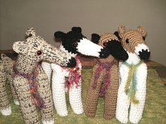 Four Greyhound Dolls (GreyhoundCrafts) Tags: dog greyhound puppy stuffed italian crochet hound whippet pixie boa fawn brindle