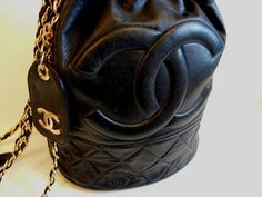 Vintage 80s Black Quilted Leather Chanel Bucket by Razorkitty00 - StyleSays