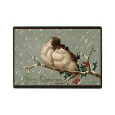 Glass Cutting Board - Vintage Christmas  A delightful vintage illustration of two birds sitting on a tree branch in the snow. A lovely add...