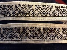 A simple set of blackwork cuffs. These should work fairly well on a century shirt :) Blackwork Patterns, Blackwork Embroidery, Cross Stitch Embroidery, Cross Stitch Patterns, Medieval Embroidery, Beaded Embroidery, Embroidery Patterns, Landsknecht, Cross Stitch Needles
