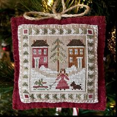 Cross Stitch Pattern Little House Needleworks Bringing Home The Tree Ornament Christmas DIY counted cross stitch pattern. $6.00, via Etsy.