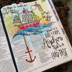 Let me tell you - my ship doesn't always look so cute. There are times when my sails feel black and tattered. My ship is leaking water and I can't seem to plug the holes fast enough. Anybody else know what I'm talking about? But this little entry is a reminder that God made an oath with us. He promised to be our refuge and save us - thank goodness, because it turns out my life vest doesn't always float. Jesus is a sure and firm ANCHOR. Hold Fast - Hebrews 6: 13-20