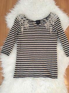 Anthropologie Deletta Navy & White Striped Top with Crochet Size Small #Deletta #KnitTop #Casual