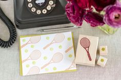 Tennis Rubber Stamp Set - Handcrafted Wood Mounted - Great for Party Invitations Decorations Scrapbooks or a Gift. $13.95, via Etsy.