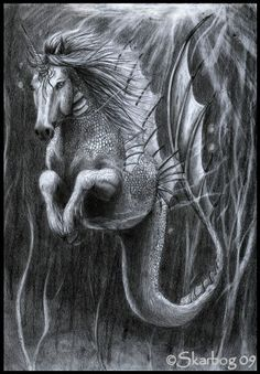 this is the hippocampicorn. a friendly creature it's a mix between a unicorn, (cat)fish and some deepseafishthingies. Magical Creatures, Fantasy Creatures, Sea Creatures, Fantasy Mermaids, Unicorns And Mermaids, Fantasy World, Fantasy Art, Mythological Creatures, Sci Fi Art