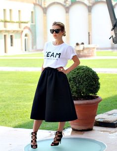 LOVE the skirt ! --- T Shirt, H Skirt, Zara Shoes, Celine Sunglasses