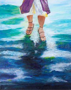 Acrylic Painting On Stretched Canvas  Walking on by ArtBySherrella, $150.00
