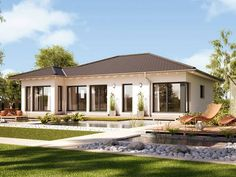 Concept-M Aktionshaus 100 Variante A – Bungalow Modern Bungalow House, Bungalow Homes, Bungalow House Plans, Modern House Plans, Modern House Design, House Floor Plans, Style At Home, Tiny Guest House, House Elevation