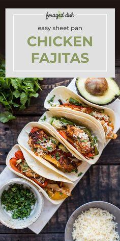 Easy Sheet Pan Chicken Fajitas Grilled Chicken Fajitas, Chicken Fajita Recipe, Chicken Tender Recipes, Grilled Chicken Recipes, Chicken Tacos, Beef Recipes, Mexican Food Recipes, Whole Food Recipes, Turkey Recipes