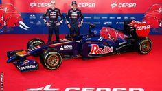 Toro Rosso drivers Daniil Kvyat (left) and Jean-Eric Vergne launch new Toro Rosso F1 car