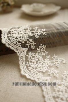 White Embroidery Lace Trim Bridal Lace Wedding Lace by fabricmade, $3.00