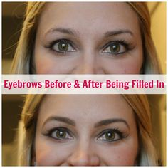 The Difference Made By Filled In Eyebrows. Filling in eyebrows with eyebrow shadow.