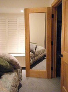 Solid Wood Door | D113 Solid   Wood Model with Mirror Installed | www.VintageDoors.com
