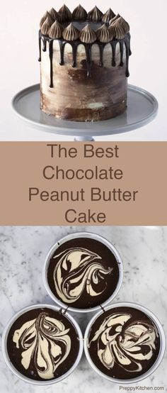 This chocolate cake is marbleized with a peanut butter batter, covered in Italia. This chocolate cake is marbleized with a peanut butter batter, covered in Italian Buttercream and topped with a beau Chocolate Peanuts, Chocolate Peanut Butter, Chocolate Recipes, Cake Chocolate, Decadent Chocolate, Beautiful Chocolate Cake, Chocolate Drip, Chocolate Muffins, Chocolate Chocolate