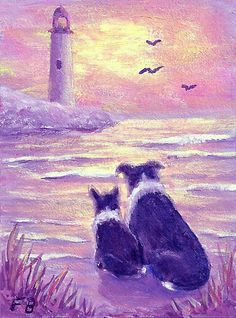 """Lighthouse Watch"" featuring Border Collies, Sammy and Breagh, on the beach and watching the seagulls flying near the lighthouse - an original ACEO by North Carolina artist, Fran Brooks. www.artistnannie.com"