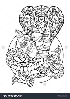 Cobra snake coloring book for adults raster illustration. Anti-stress coloring for adult. Tattoo stencil. Black and white lines. Lace pattern