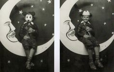 Vintage paper moon photos of a boy in a Mickey Mouse mask   Flickr - Photo Sharing!