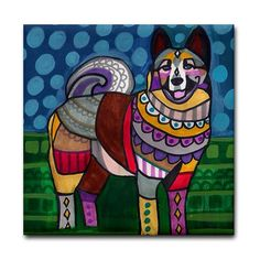 65% Off- Norwegian Elkhound art Tile Ceramic Coaster Mexican Folk Art Print of painting by Heather Galler dog