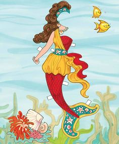 Mermaid Paper Doll Dover Publications-- she looks like she's from the 80's! Outfit 1